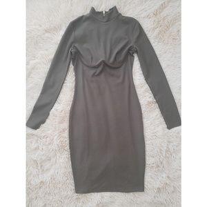 Olive Green Bodycon Maxi Dress